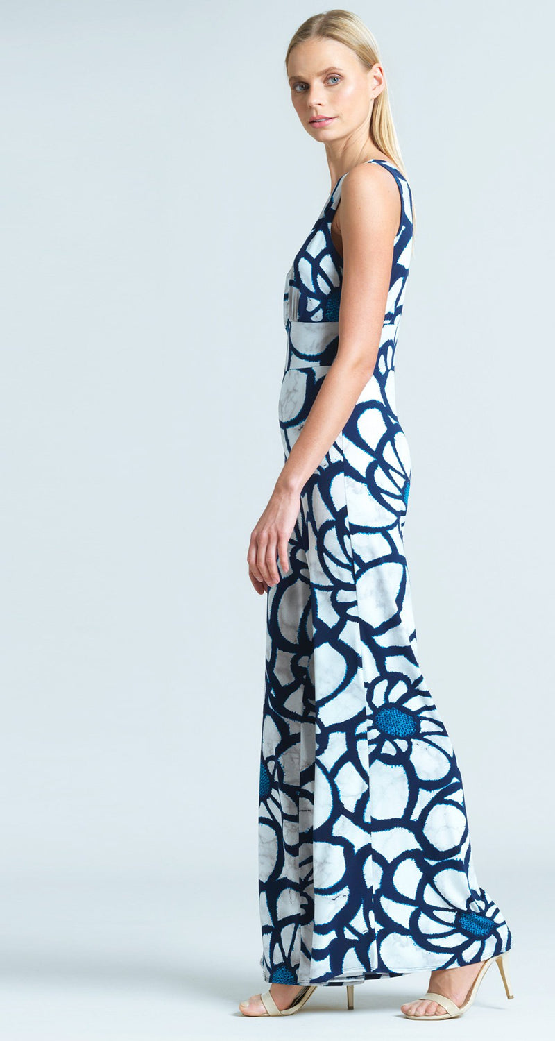 Sunflower Print Signature Jumpsuit - White/Navy - Final Sale!