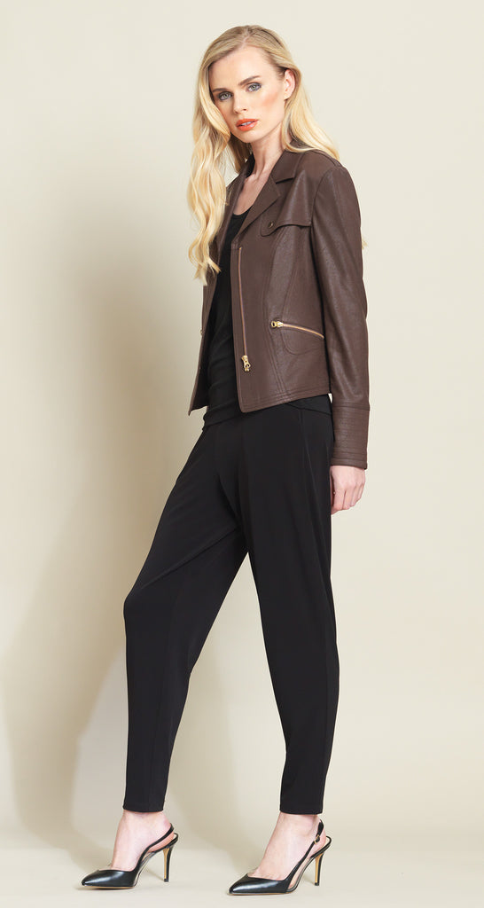 Belted Liquid Leather Pocket Zip Jacket - Brown - Limited Sizes!