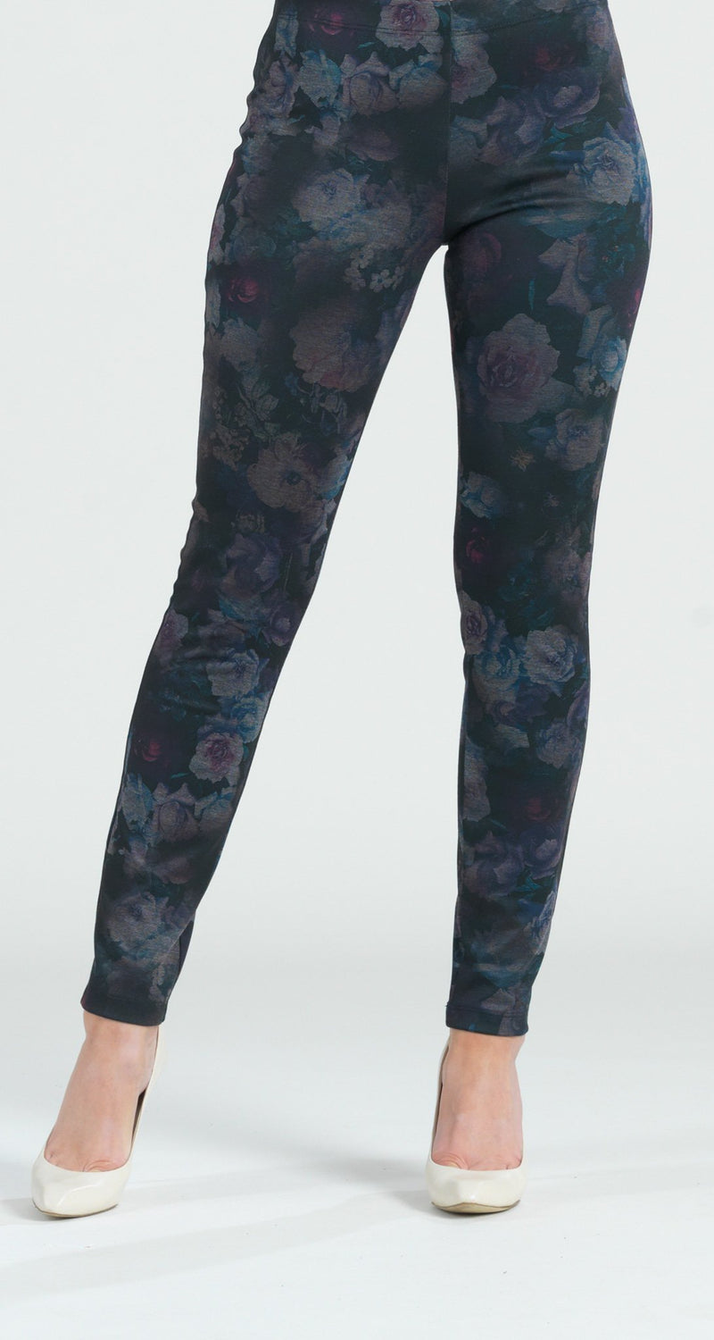 Ponte Floral Flash Print Slim Legging - Plum - Final Sale! - Clara Sunwoo