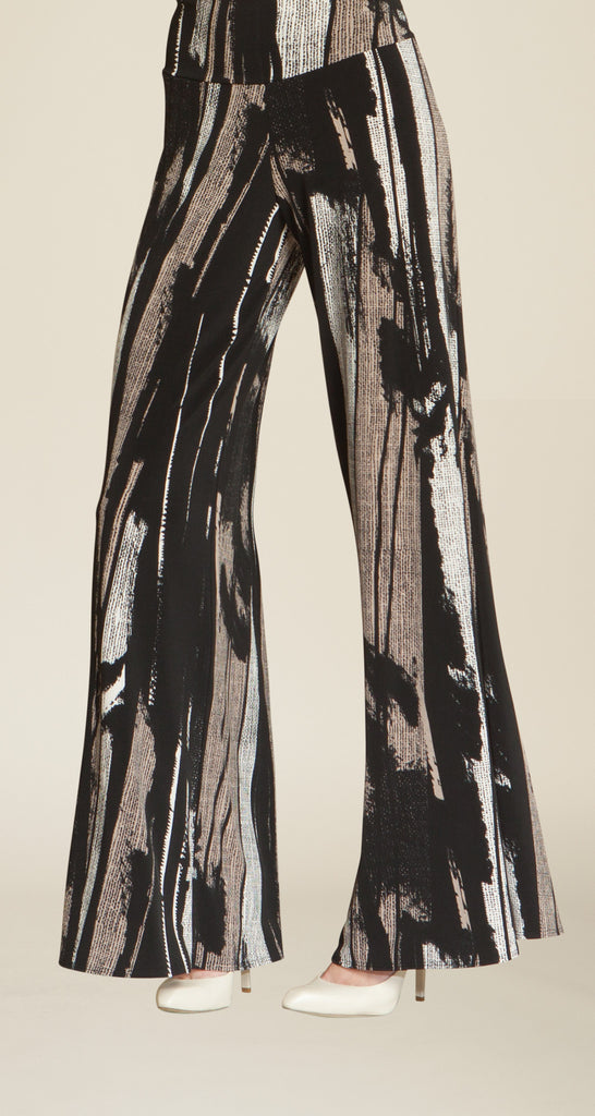 Ribbon Print Palazzo Pant - Black/Taupe - Final Sale