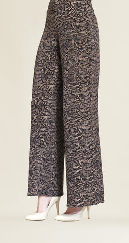 Pine Needle Print Palazzo Pant - Black/Copper - Limited Sizes! - Clara Sunwoo