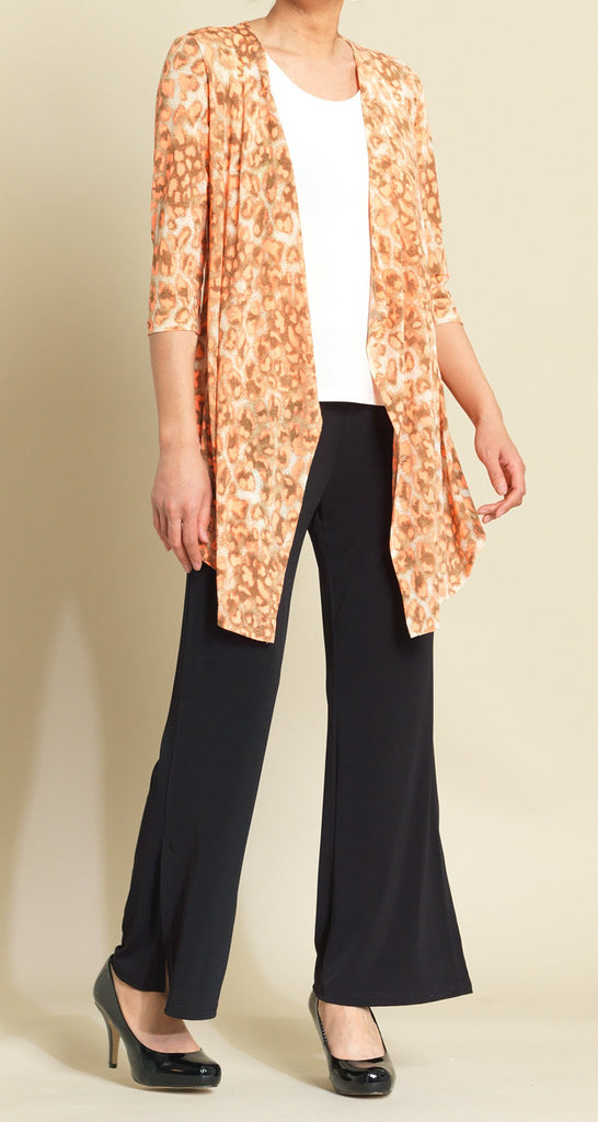 Mesh Leopard Print Drape Cardigan - Orange Multi - Final Sale!