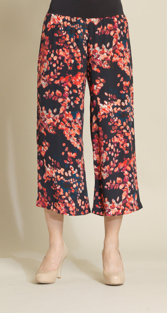 Willow Print Pull On Gaucho - Coral Multi - Final Sale!