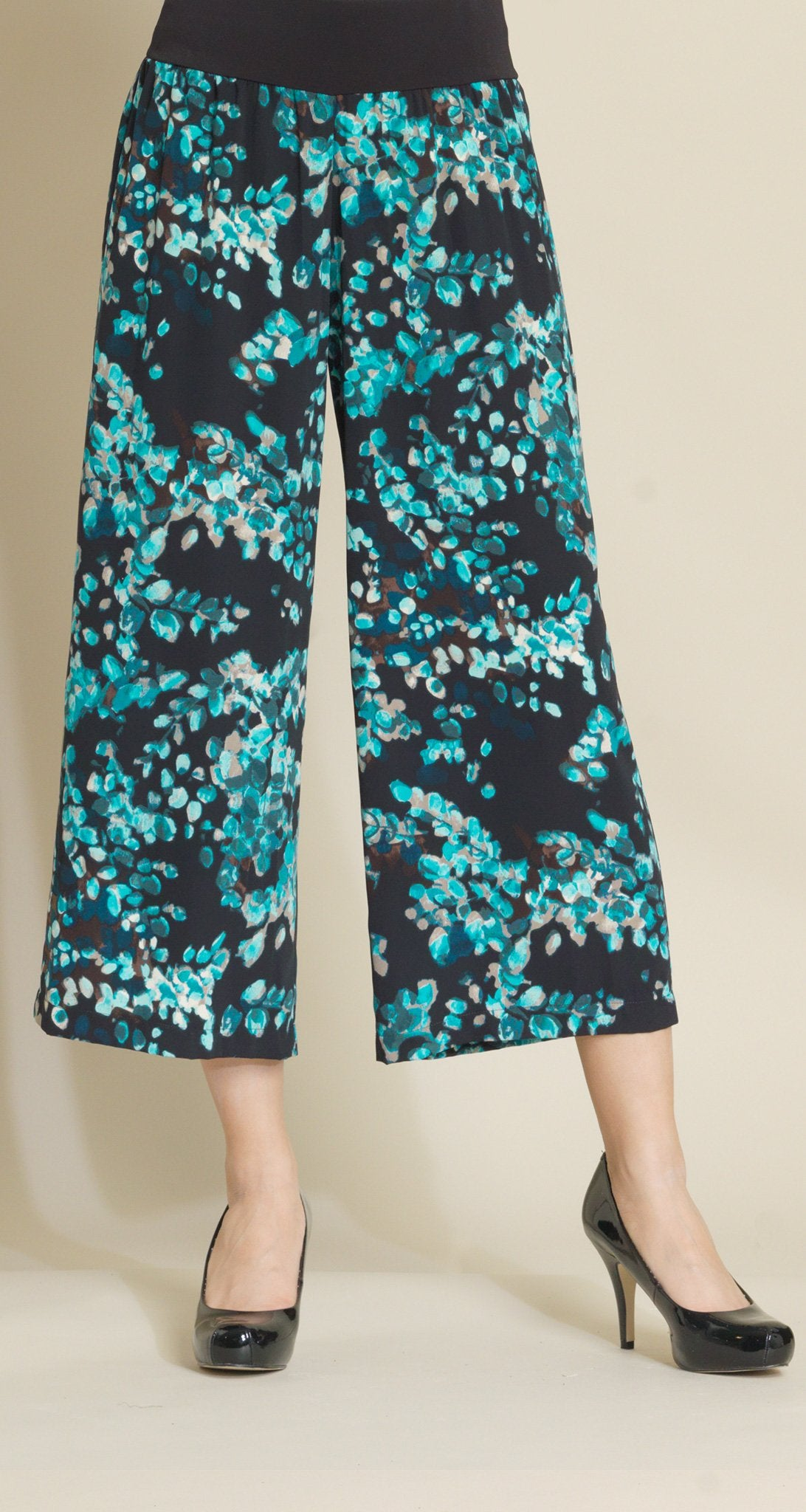 Willow Print Pull On Gaucho - Turquoise Multi - Final Sale! - Clara Sunwoo