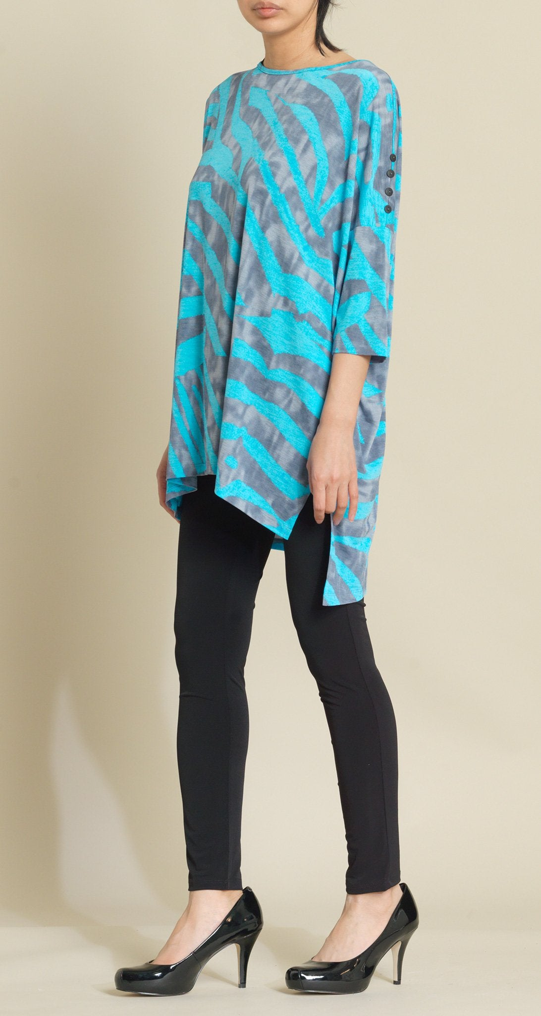 Zebra Stripe Hi-Low Tunic - Tuquoise - Final Sale! - Clara Sunwoo
