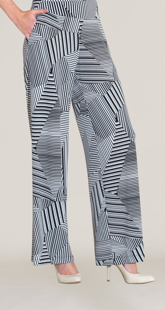 Piano Stripe Straight Pocket Pant - White/Black