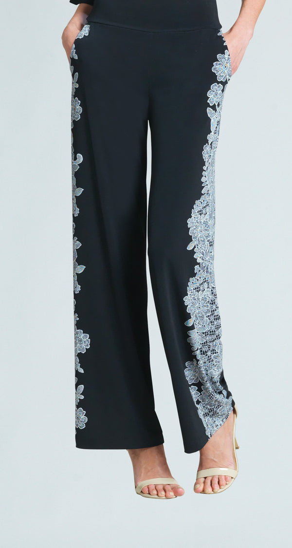 Lace Trim Print Wide Leg Pocket Pant - Limited Sizes!