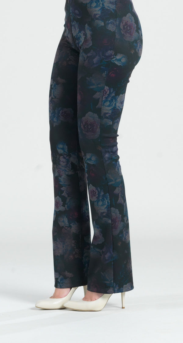 Ponte Floral Flash Print Boot Cut Pant - Plum - Final Sale! - Clara Sunwoo