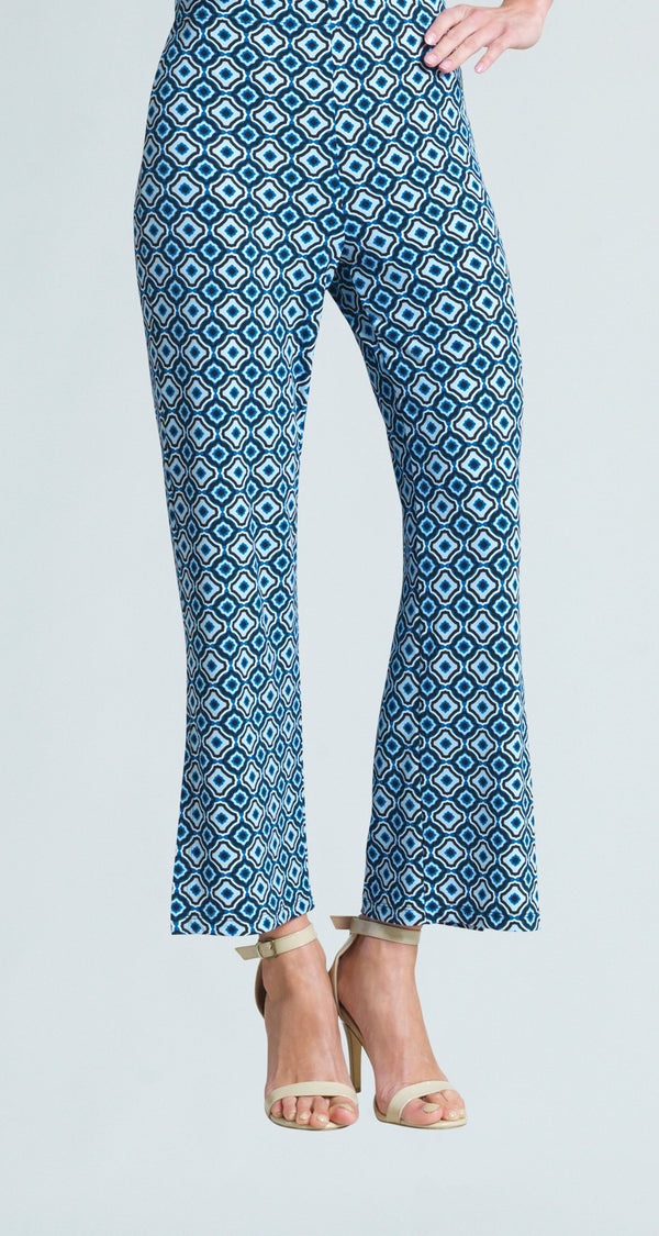 Tile Print Side Slit Ankle Pant - Navy/White