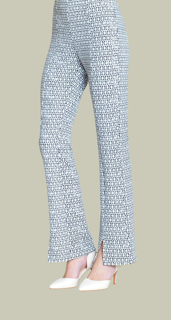 Bow Print Kick Front Textured Pant - White/Black
