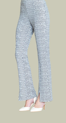 Bow Print Kick Front Center Seam Textured Pant - Final Sale! - Clara Sunwoo