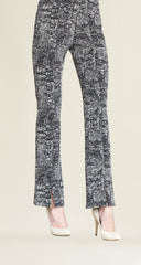 Tweed Print Kick Front Jacquard Pant - White/Black
