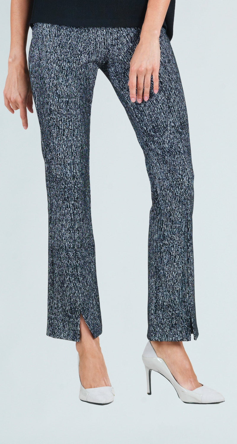 Jacquard Tweed Print Kick Front Slit Pant - Limited Sizes! XS & S Only!