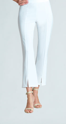 Center Seam Kick Front Ankle Pant - White