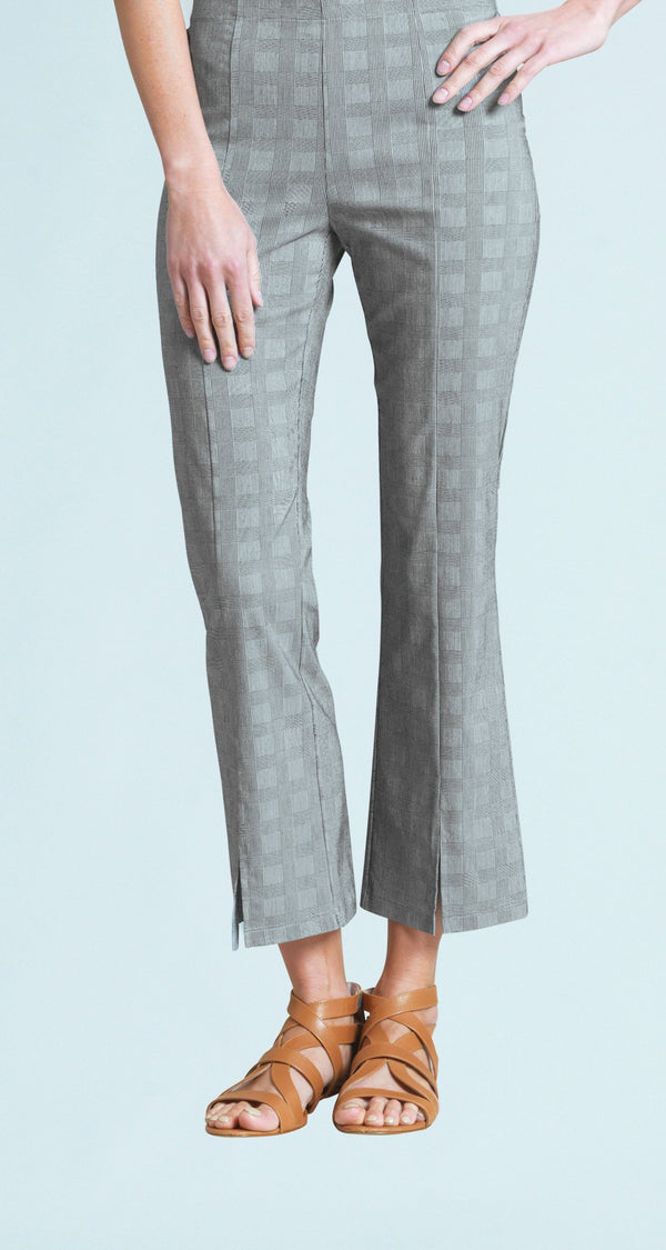 Techno Stretch Center Seam Kick Front Ankle Pant - Plaid - Final Sale!