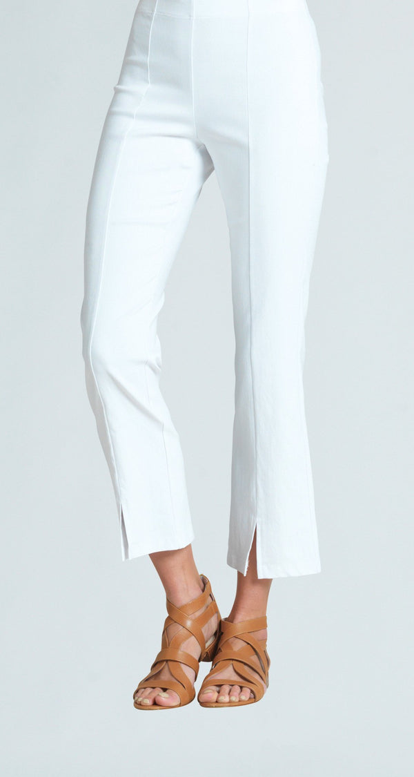 Techno Stretch Center Seam Kick Front Ankle Pant - White - Final Sale!