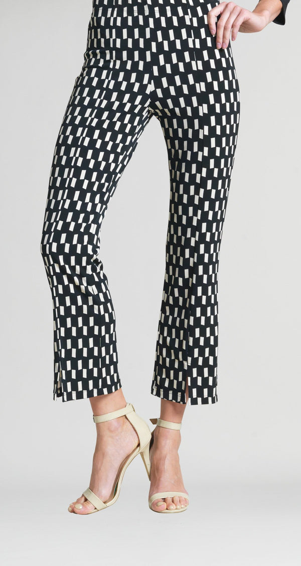 Geo Rectangle Print Center Seam Kick Front Ankle Pant - Clara Sunwoo