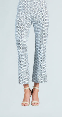 Mini Tuxedo Print Center Seam Kick Front Textured Ankle Pant