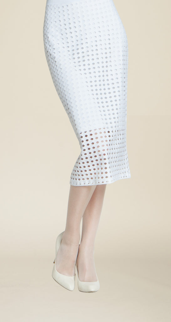 Perforated Knit Skirt - White