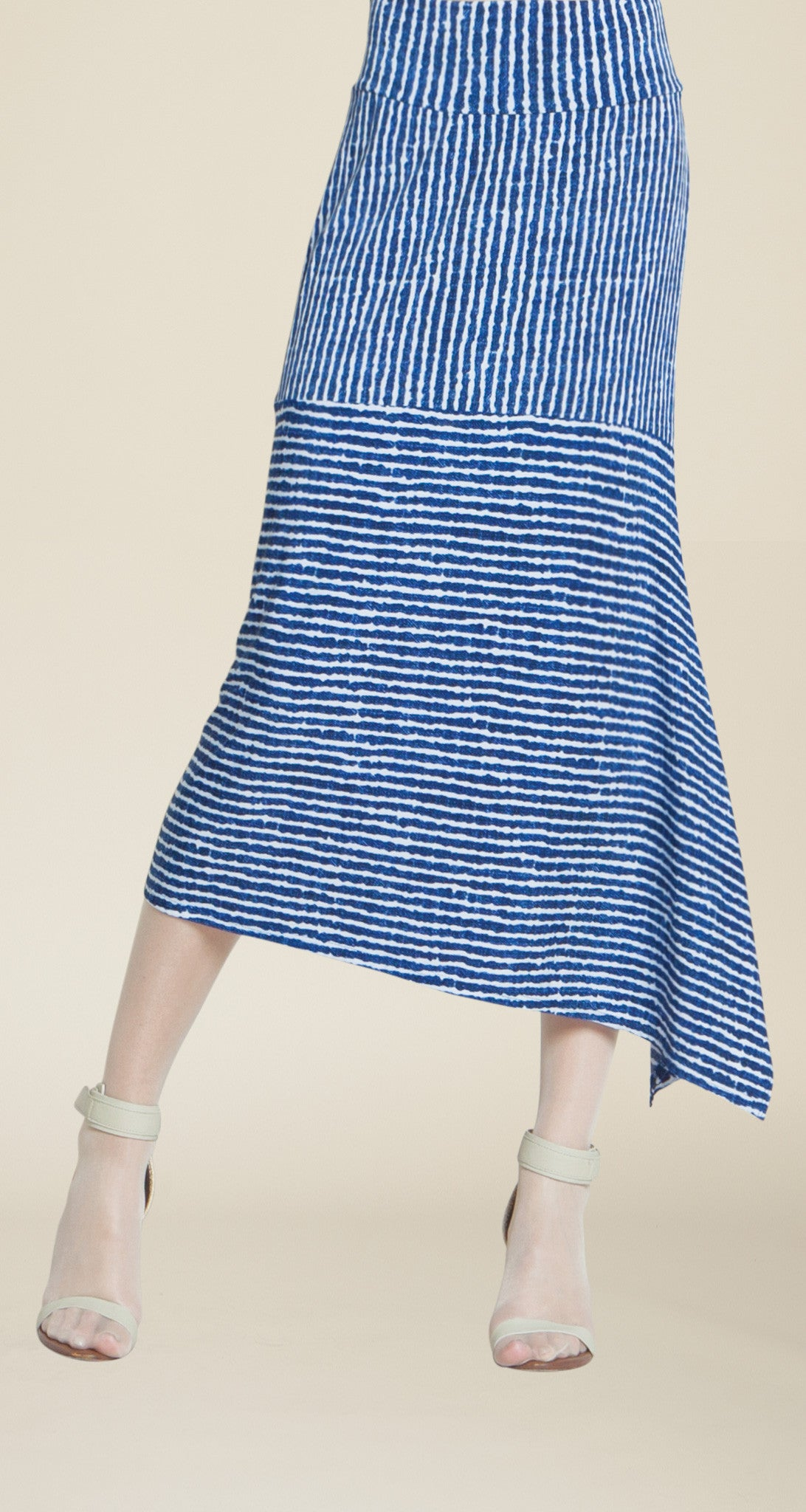 Stripe Print Waterfall Drift Skirt