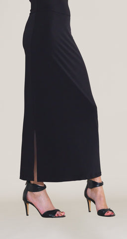 Solid Side Vents Maxi Skirt - Black - Clara Sunwoo