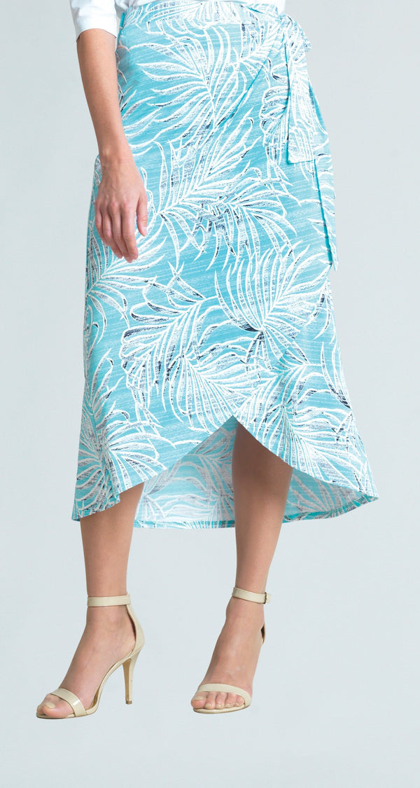 Tropical Floral Print Pull On Wrap-Front Midi Skirt - Turquoise - Final Sale!