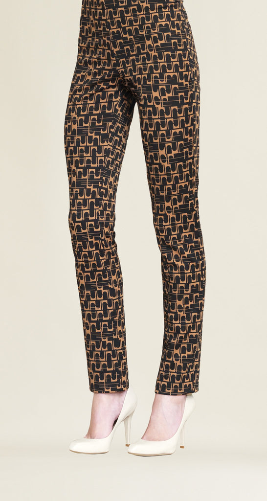 Geo Print Textured Slim Leg Pant - Black/Copper