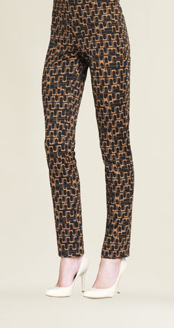 Geo Print Slim Leg Pant - Black/Copper - Final Sale! - Clara Sunwoo