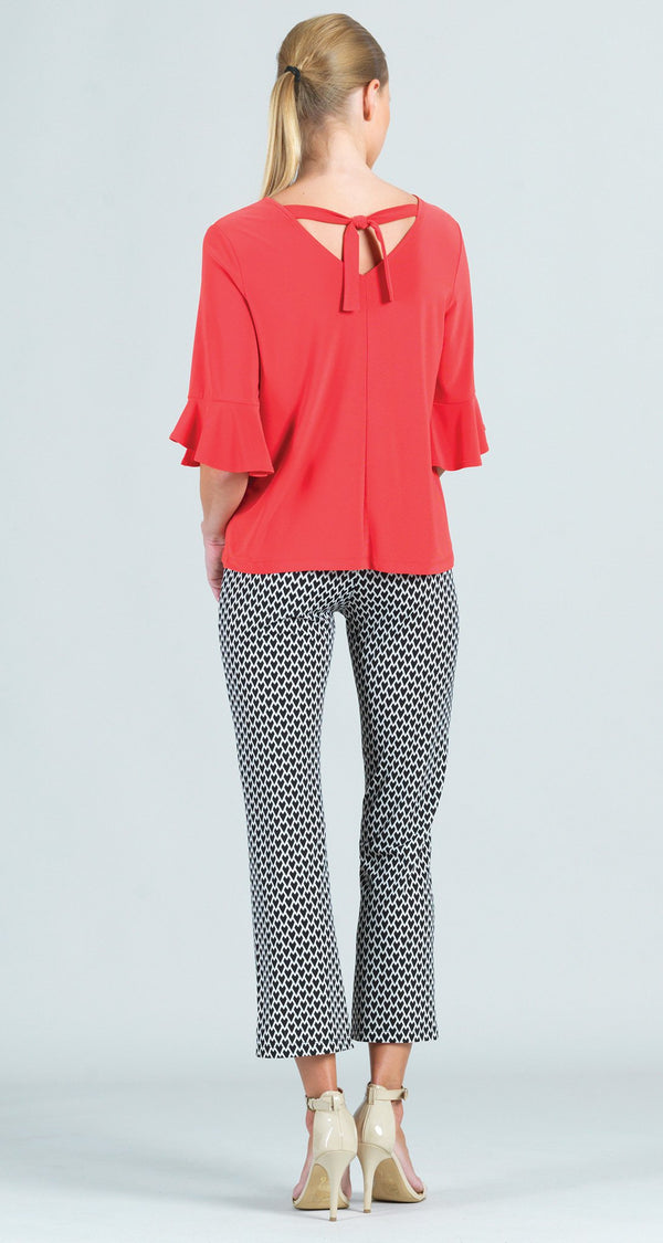 Reversible Back Tie Tulip Cuff Top - Coral