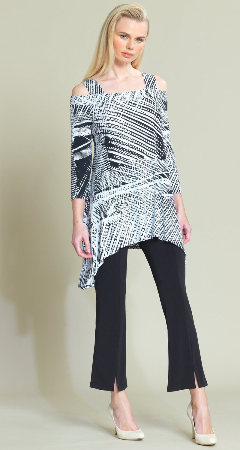 Thread Print Cold Shoulder Tunic - Black/White