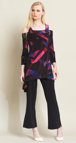 Ribbon Print Cold Shoulder Tunic - Fuchsia Multi - Clara Sunwoo