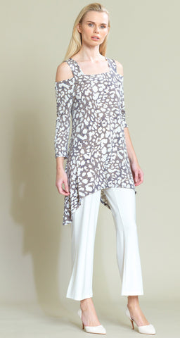 Dotted Animal Print Cold Shoulder Tunic - Beige - Clara Sunwoo