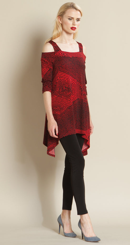 Diamond Print Cold Shoulder Tunic - Red/Black - Final Sale!