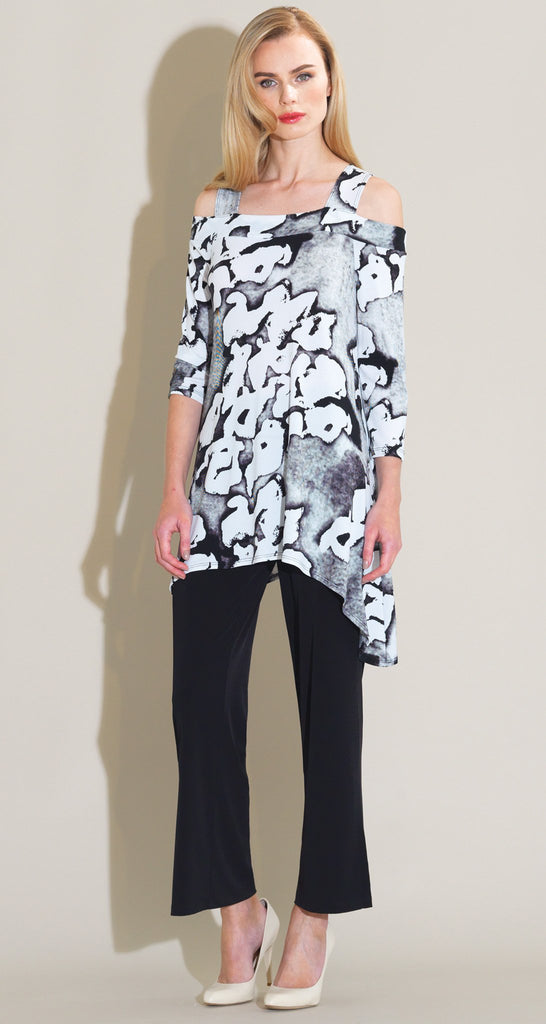 Abstract Print Cold Shoulder Tunic - White/Black