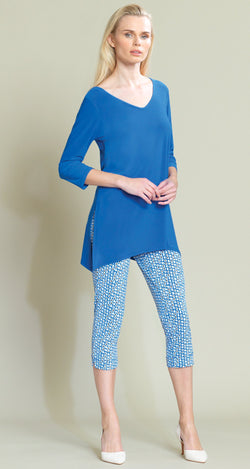 V Side Vent Solid Tunic - Dazzling Blue - Final Sale!