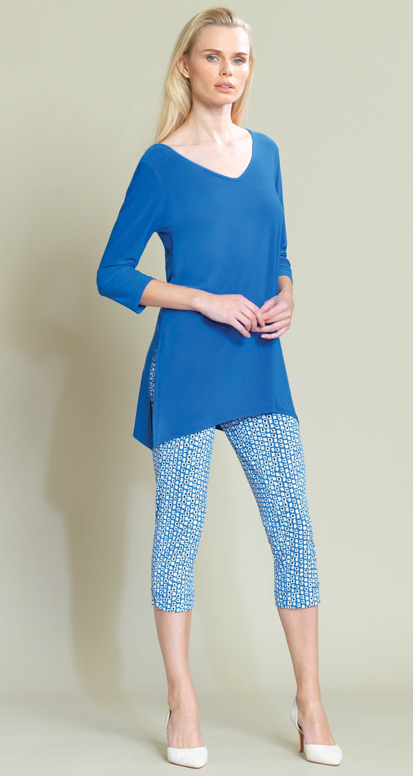 V Side Vent Solid Tunic - Dazzling Blue - Final Sale! - Clara Sunwoo