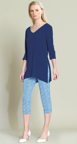V Side Vent Solid Tunic - Navy - Final Sale!
