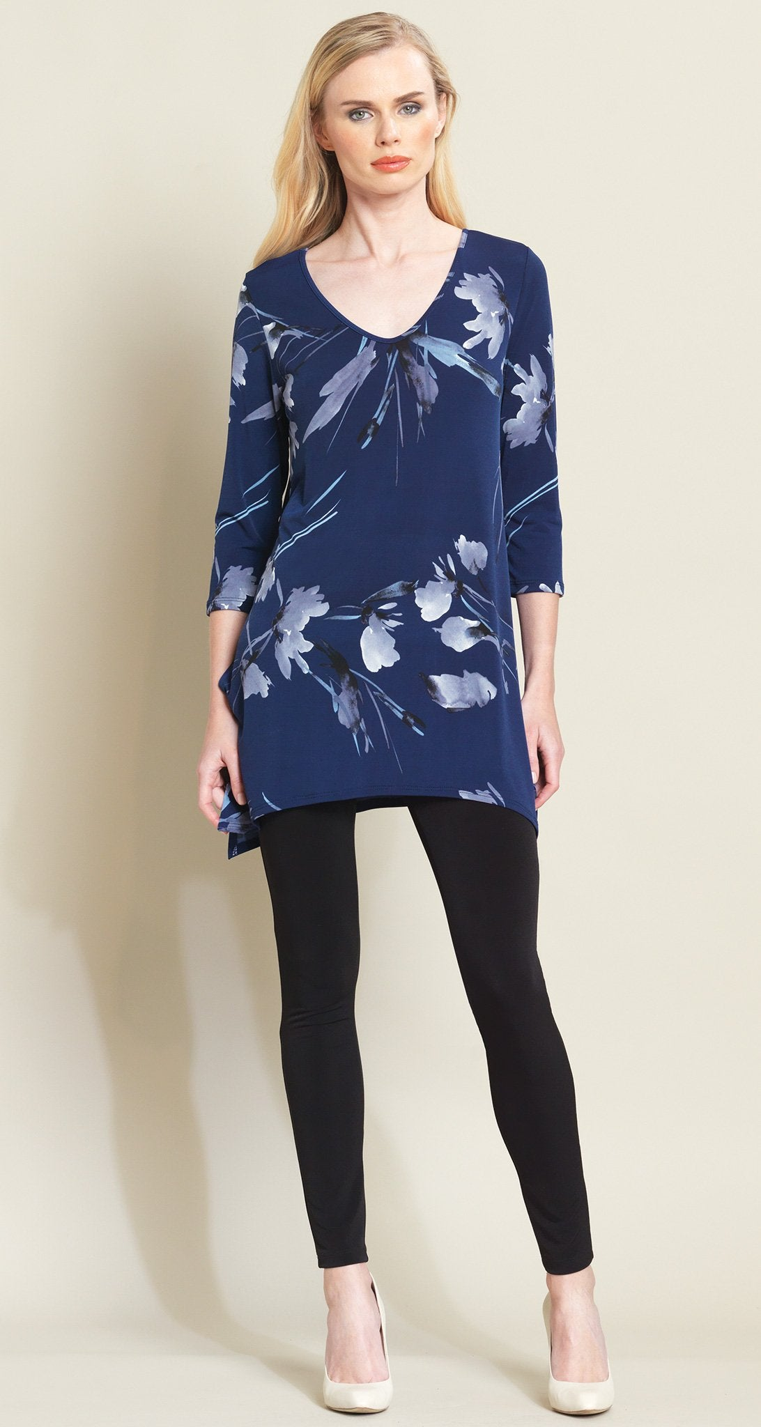 Floral Leaves Side Vent Tunic - Navy/Grey - Clara Sunwoo