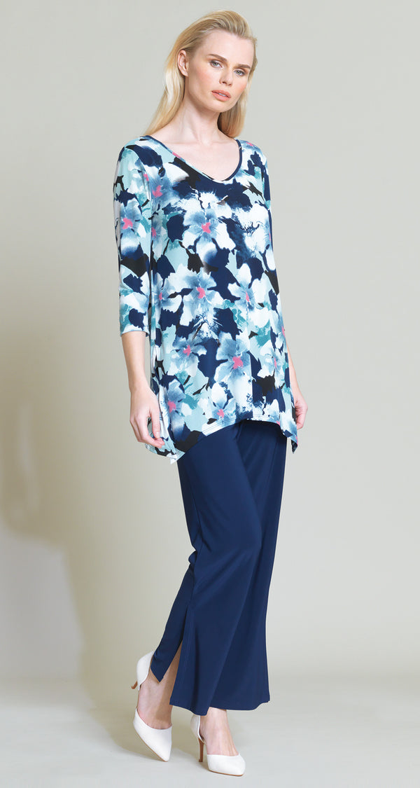 Floral Print Side Vent Tunic - White/Navy - Final Sale! - Clara Sunwoo