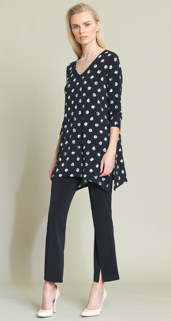 Mini Rose Print Side Vent Tunic - Black/White