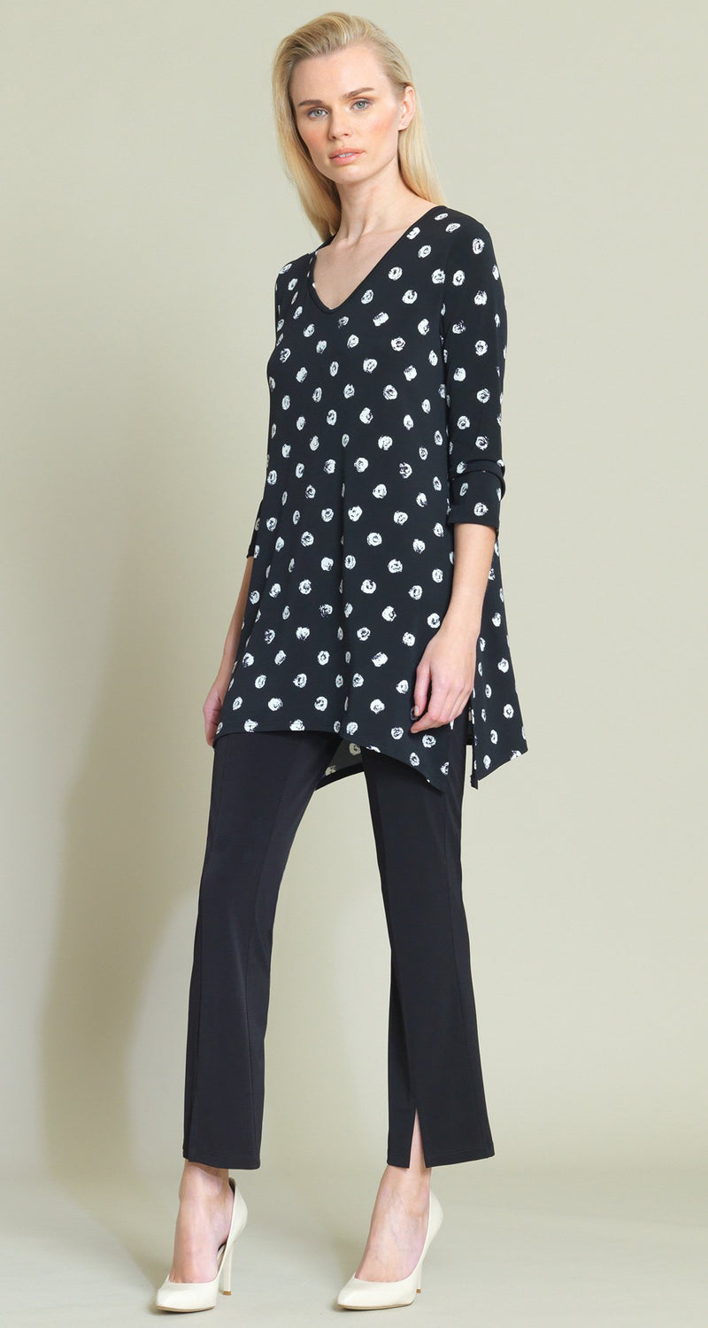 Mini Rose Print Side Vent Tunic - Black/White - Clara Sunwoo