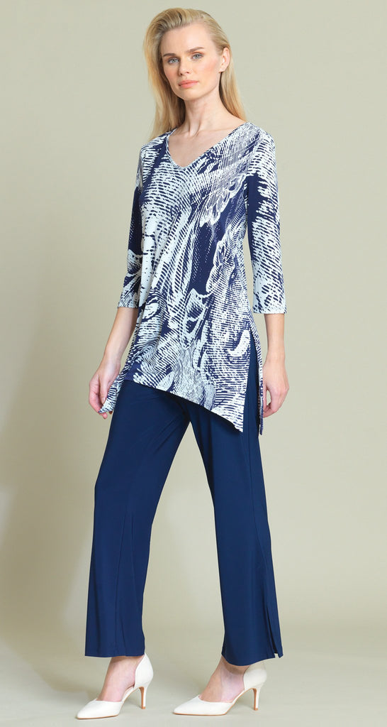 Ocean Wave Print Side Vent Tunic - White/Navy