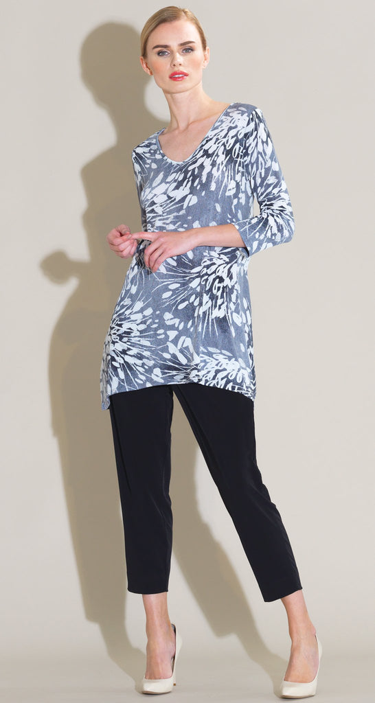 Floral Starburst Print V Side Vent Tunic - Black/White