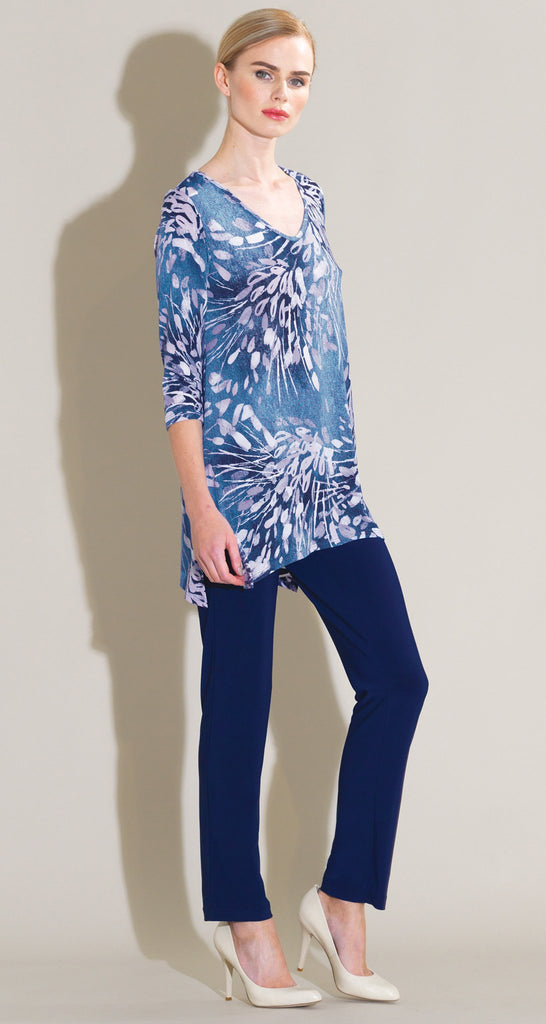 Floral Starburst Print V Side Vent Tunic - Blue/White
