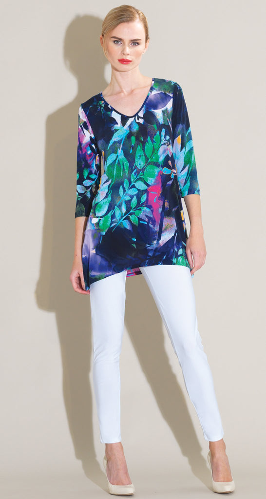 Floral Dream Print Side Vent Tunic - Navy Multi - Final Sale!