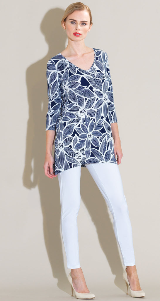 Sunflower Sketch Print V Side Vent Tunic - White/Navy