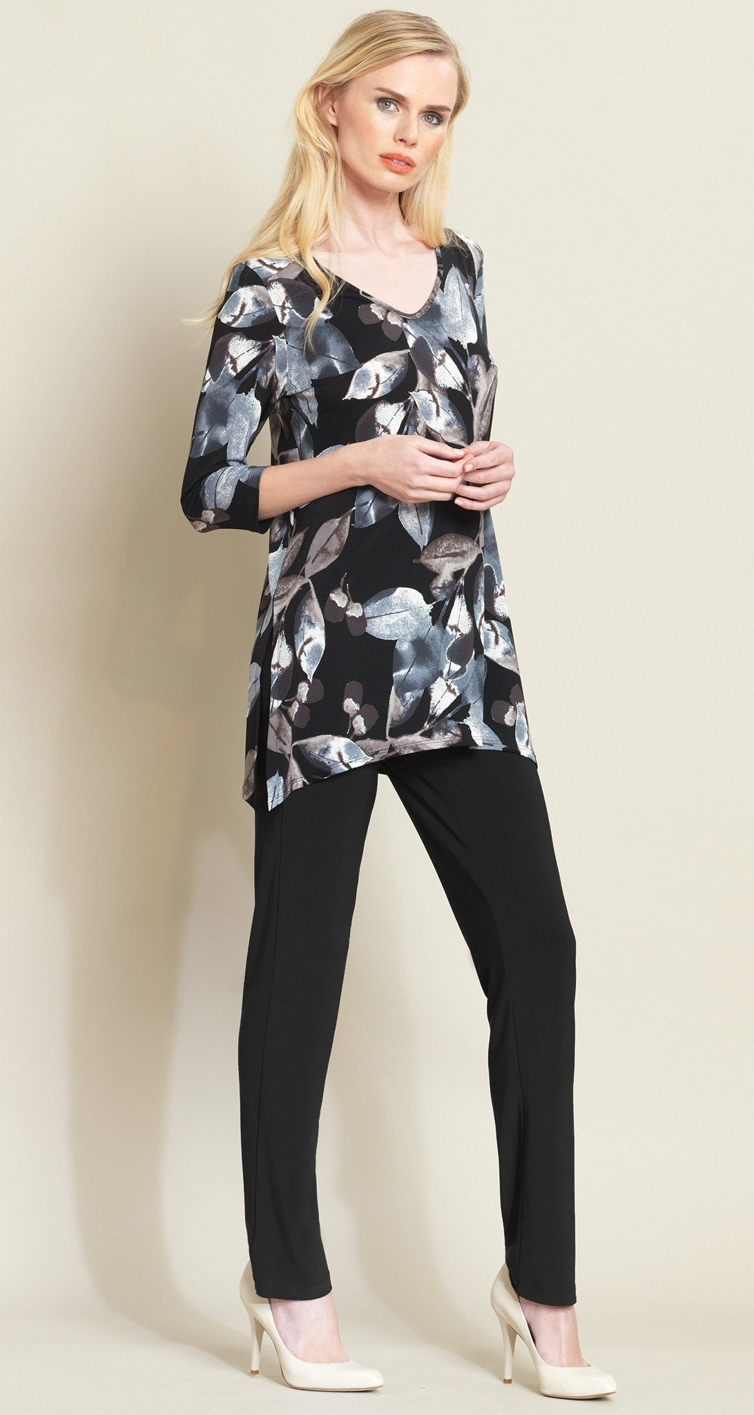 Abstract Leaves Side Vent Tunic - Black/Taupe - Clara Sunwoo