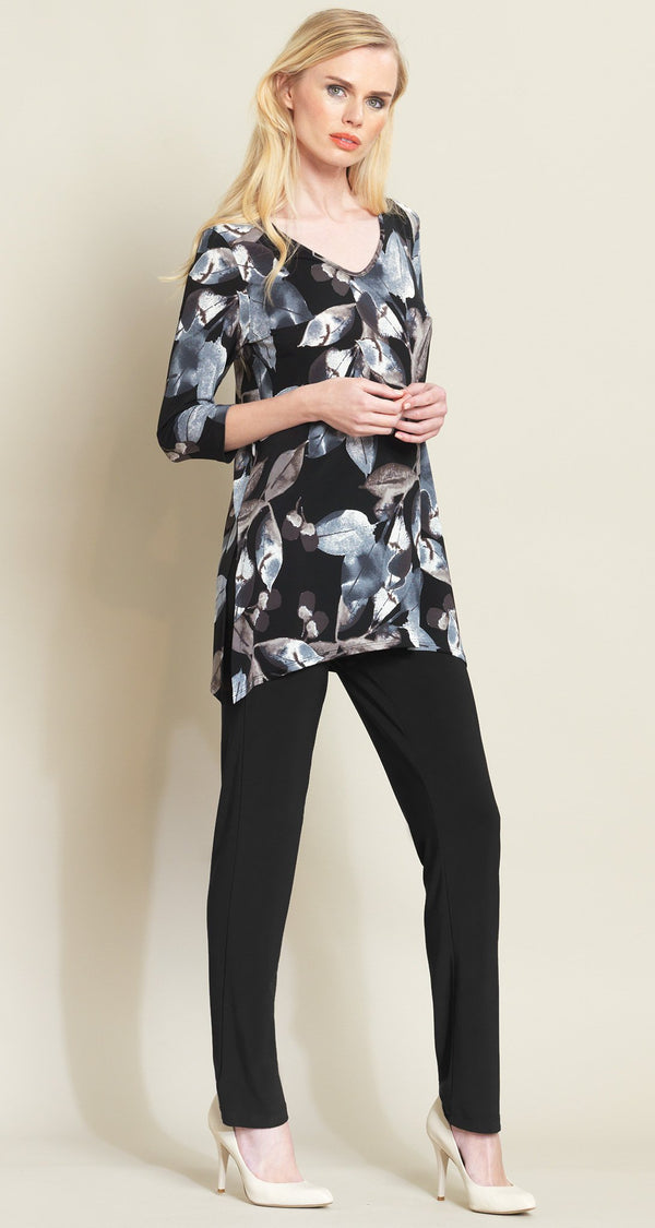 Soft Leaves Side Vent Tunic - Black/Taupe - Final Sale! - Clara Sunwoo