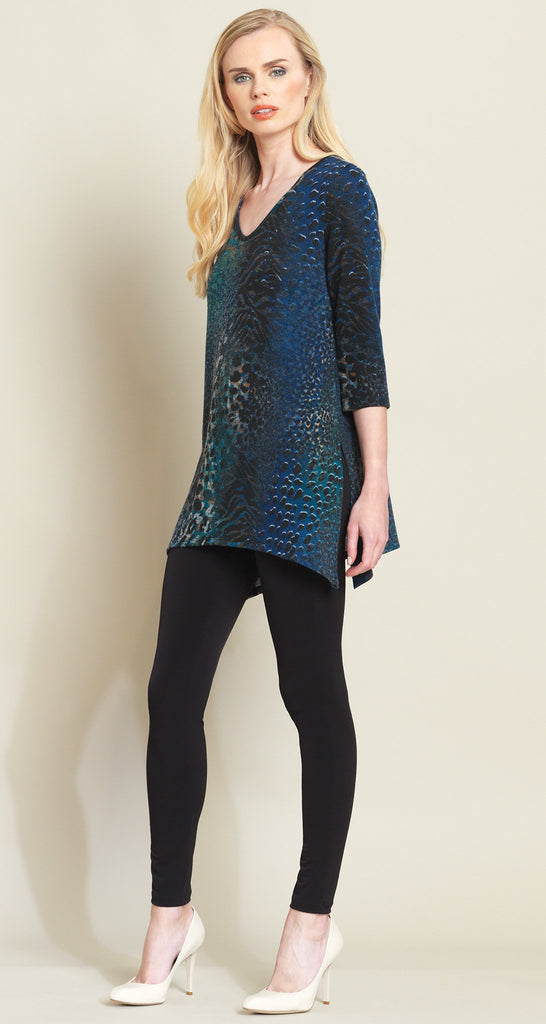 Animal Print Side Vent Sweater Tunic - Blue Multi