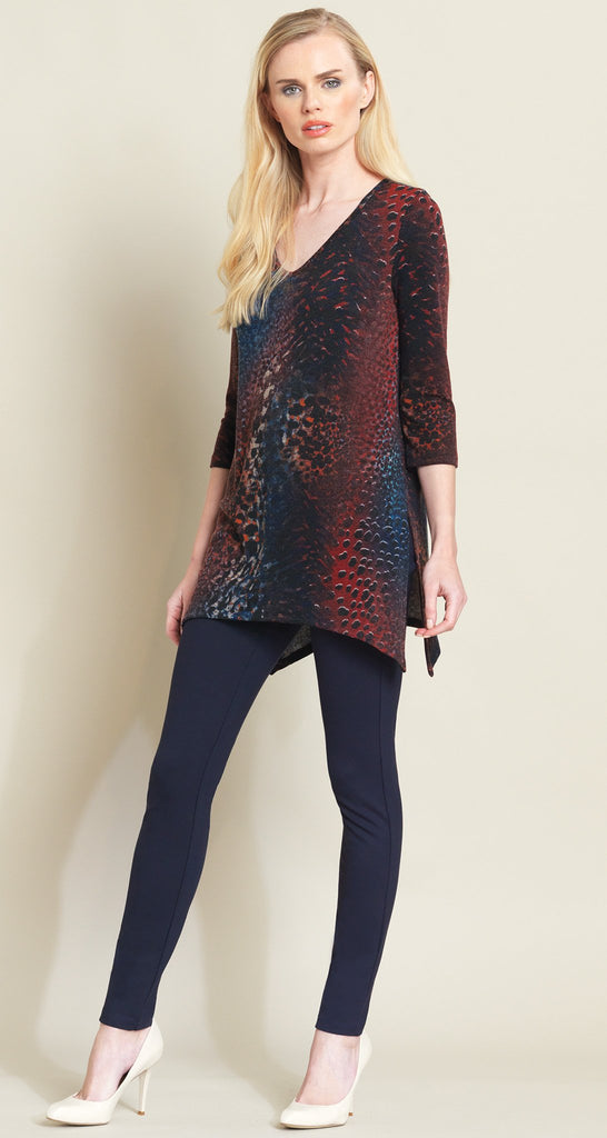 Animal Print Side Vent Sweater Tunic - Merlot Multi